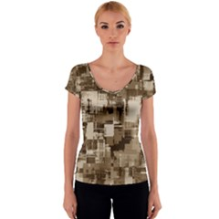 Color Abstract Background Textures Women s V-Neck Cap Sleeve Top