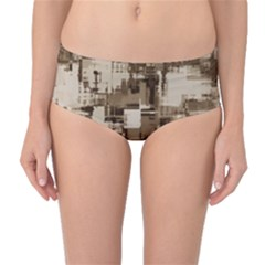 Color Abstract Background Textures Mid Waist Bikini Bottoms