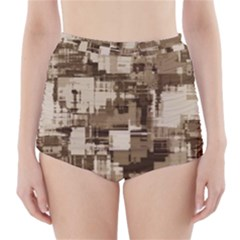 Color Abstract Background Textures High Waisted Bikini Bottoms