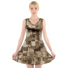 Color Abstract Background Textures V Neck Sleeveless Skater Dress