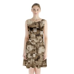 Color Abstract Background Textures Sleeveless Waist Tie Chiffon Dress