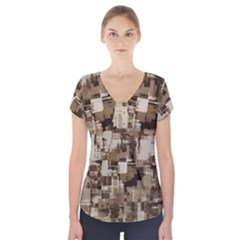 Color Abstract Background Textures Short Sleeve Front Detail Top