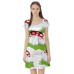 Mushroom Luck Fly Agaric Lucky Guy Short Sleeve Skater Dress