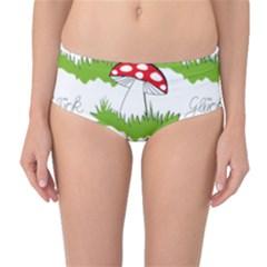 Mushroom Luck Fly Agaric Lucky Guy Mid Waist Bikini Bottoms