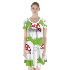 Mushroom Luck Fly Agaric Lucky Guy Short Sleeve V-neck Flare Dress