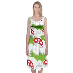 Mushroom Luck Fly Agaric Lucky Guy Midi Sleeveless Dress