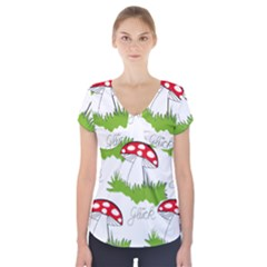 Mushroom Luck Fly Agaric Lucky Guy Short Sleeve Front Detail Top
