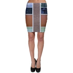 Pattern Symmetry Line Windows Bodycon Skirt