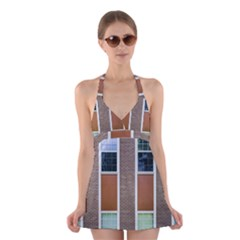 Pattern Symmetry Line Windows Halter Swimsuit Dress