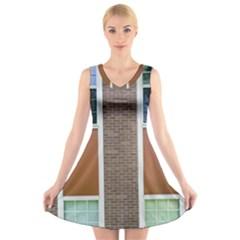 Pattern Symmetry Line Windows V-Neck Sleeveless Skater Dress
