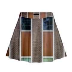 Pattern Symmetry Line Windows Mini Flare Skirt