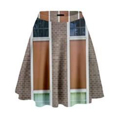 Pattern Symmetry Line Windows High Waist Skirt