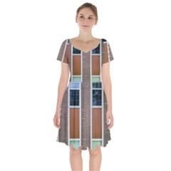 Pattern Symmetry Line Windows Short Sleeve Bardot Dress