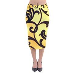 Texture Pattern Beautiful Bright Velvet Midi Pencil Skirt