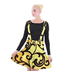 Texture Pattern Beautiful Bright Suspender Skater Skirt