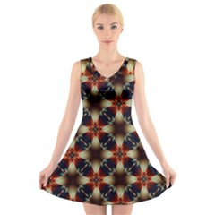 Kaleidoscope Image Background V Neck Sleeveless Skater Dress