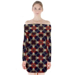 Kaleidoscope Image Background Long Sleeve Off Shoulder Dress