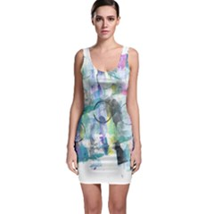 Background Color Circle Pattern Sleeveless Bodycon Dress