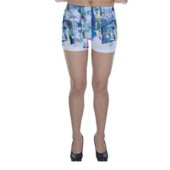 Background Color Circle Pattern Skinny Shorts