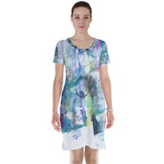 Background Color Circle Pattern Short Sleeve Nightdress