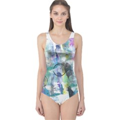 Background Color Circle Pattern One Piece Swimsuit