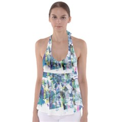 Background Color Circle Pattern Babydoll Tankini Top