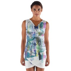 Background Color Circle Pattern Wrap Front Bodycon Dress