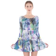 Background Color Circle Pattern Long Sleeve Velvet Skater Dress