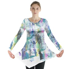 Background Color Circle Pattern Long Sleeve Tunic