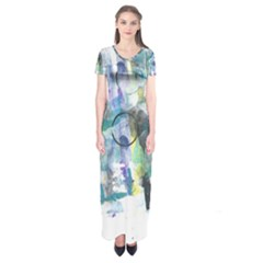 Background Color Circle Pattern Short Sleeve Maxi Dress