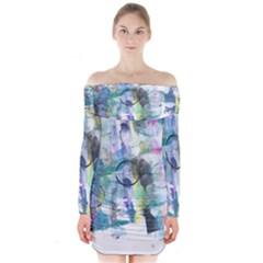 Background Color Circle Pattern Long Sleeve Off Shoulder Dress