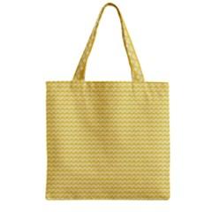 Pattern Yellow Heart Heart Pattern Zipper Grocery Tote Bag