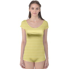 Pattern Yellow Heart Heart Pattern Boyleg Leotard