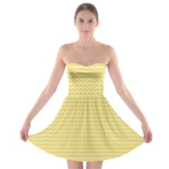 Pattern Yellow Heart Heart Pattern Strapless Bra Top Dress