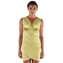 Pattern Yellow Heart Heart Pattern Wrap Front Bodycon Dress