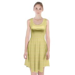 Pattern Yellow Heart Heart Pattern Racerback Midi Dress