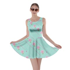 Flower Pink Love Background Texture Skater Dress