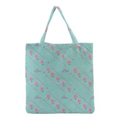 Flower Pink Love Background Texture Grocery Tote Bag