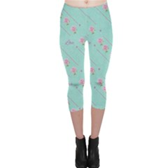 Flower Pink Love Background Texture Capri Leggings