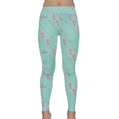 Flower Pink Love Background Texture Classic Yoga Leggings