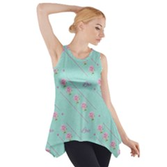 Flower Pink Love Background Texture Side Drop Tank Tunic