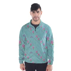 Flower Pink Love Background Texture Wind Breaker (Men)