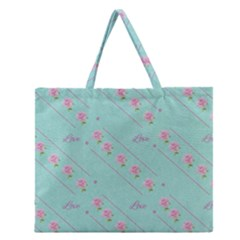 Flower Pink Love Background Texture Zipper Large Tote Bag