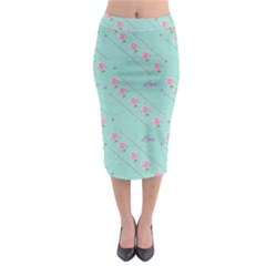 Flower Pink Love Background Texture Midi Pencil Skirt