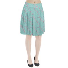 Flower Pink Love Background Texture Pleated Skirt