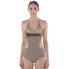 Pattern Background Stripes Karos Cut Out One Piece Swimsuit