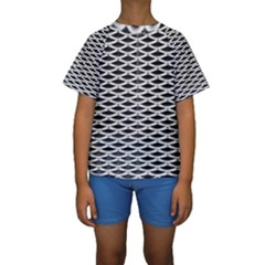 Expanded Metal Facade Background Kids  Short Sleeve Swimwear