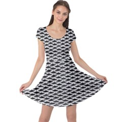 Expanded Metal Facade Background Cap Sleeve Dresses