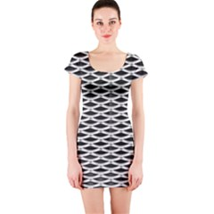 Expanded Metal Facade Background Short Sleeve Bodycon Dress