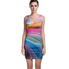 Rainbow Feather Sleeveless Bodycon Dress
